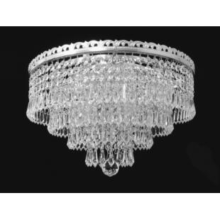 Trebon 3 Light Flush Nickel Crystal Pendant
