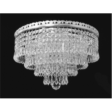 Trebon 6 Light Flush Nickel Crystal Pendant