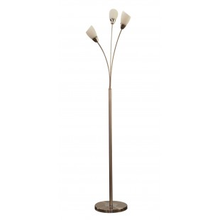 Furama 3 Light Floor Lamp - Satin Nickel