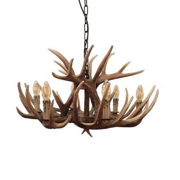 Deer 8 Light Unique Ceiling Light Brown